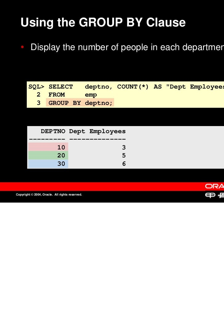 Using the GROUP BY Clause          Display the number of people in each department.          Display the number of people ...