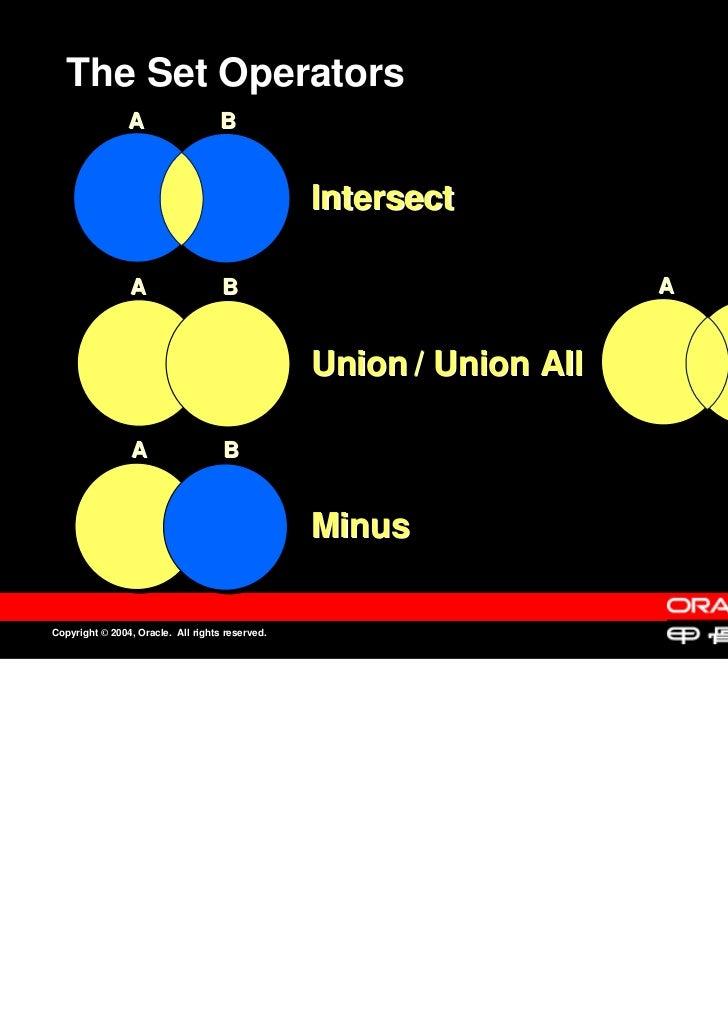 The Set Operators                A                   B                                                 Intersect          ...