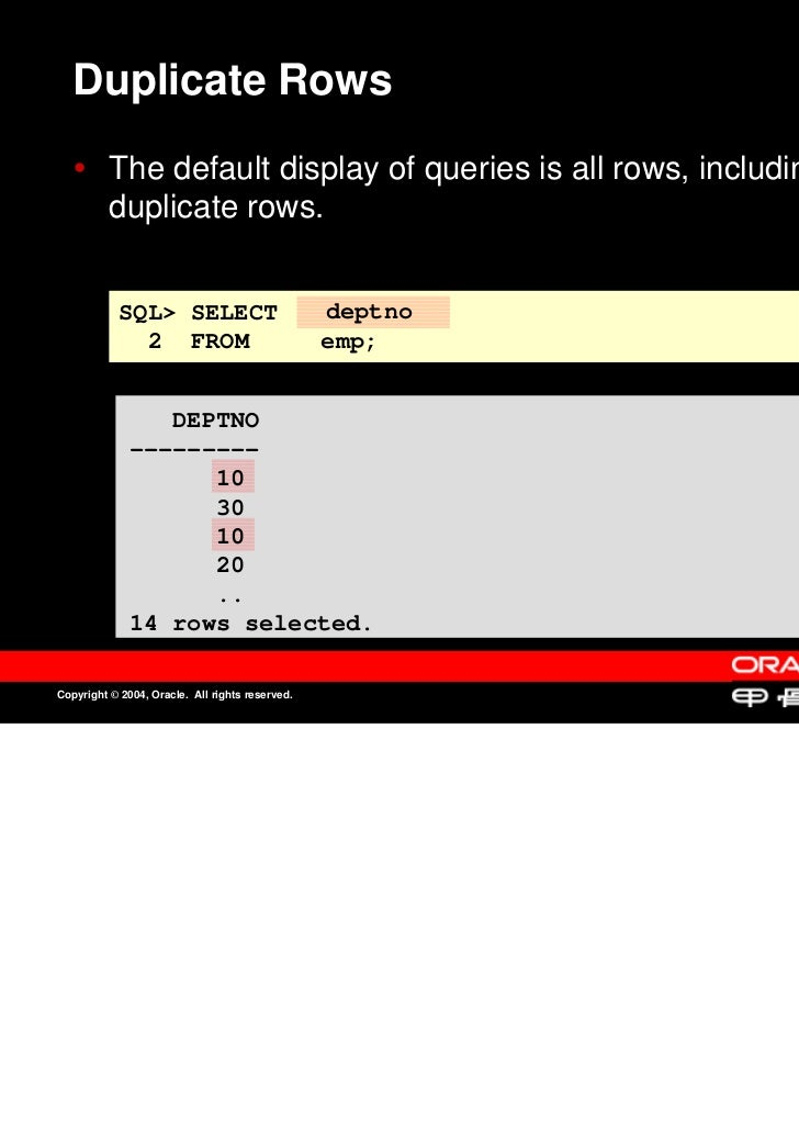 Duplicate Rows          The default display of queries is all rows, including          The default display of queries is a...