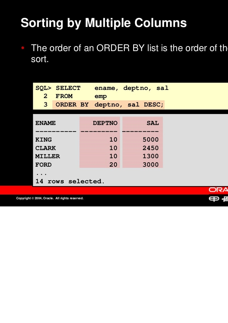 Sorting by Multiple Columns          The order of an ORDER BY list is the order of the          The order of an ORDER BY l...
