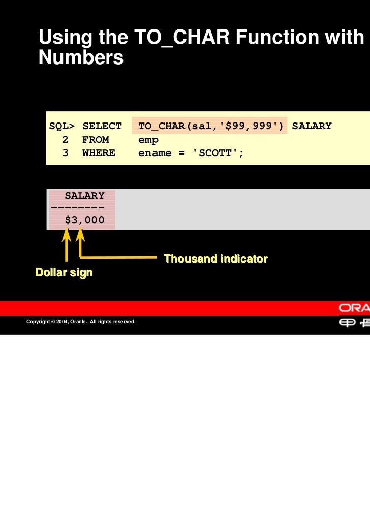 Using the TO_CHAR Function with    Numbers         SQL> SELECT                             TO_CHAR(sal,$99,999) SALARY    ...