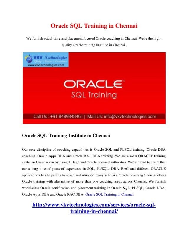 Oracle Sql Training In Chennai