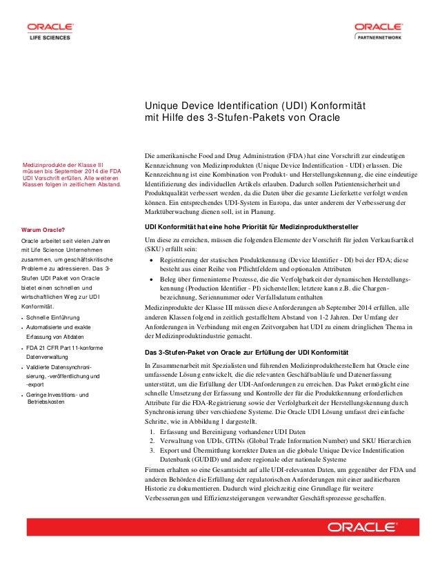 Unique Device Identification (UDI) Konformität mit Hilfe des 3-Stufen-Pakets von Oracle Medizinprodukte der Klasse III müs...