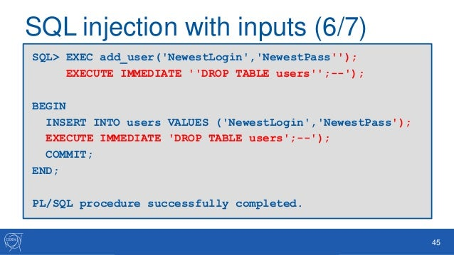 Oracle database security for developers - Sql injection drop table example ...