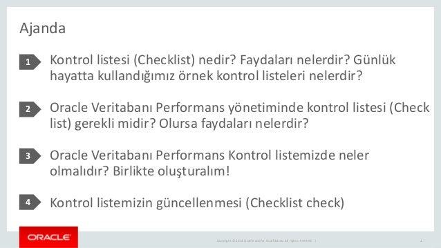 Oracle veritabani performans kontrol listesi Slide 2