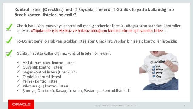 Oracle veritabani performans kontrol listesi Slide 3