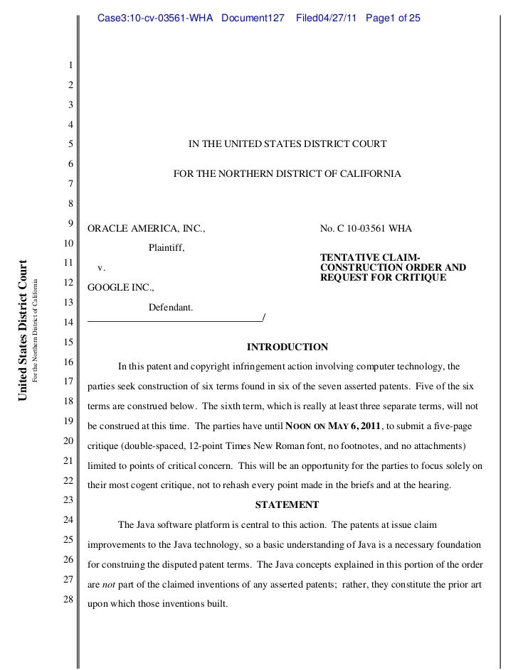 Case3:10-cv-03561-WHA Document127                  Filed04/27/11 Page1 of 25                                              ...