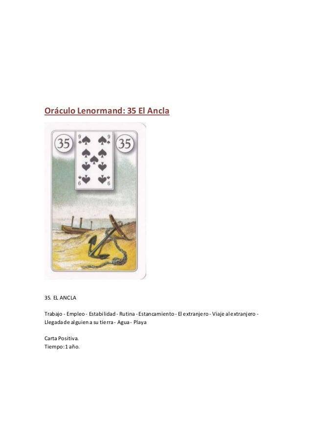 Oráculo Lenormand: 35 El Ancla 35. EL ANCLA Trabajo - Empleo- Estabilidad - Rutina- Estancamiento - El extranjero - Viaje ...