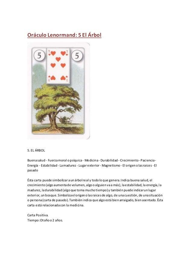 Oráculo Lenormand: 5 El Árbol 5. EL ÁRBOL Buenasalud - Fuerzamoral o psíquica- Medicina- Durabilidad - Crecimiento- Pacien...
