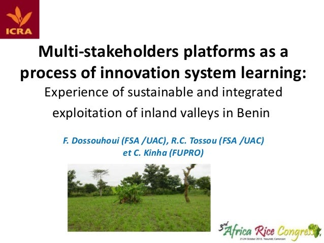 Multi-stakeholders platforms as a process of innovation system learning: Experience of sustainable and integrated exploita...