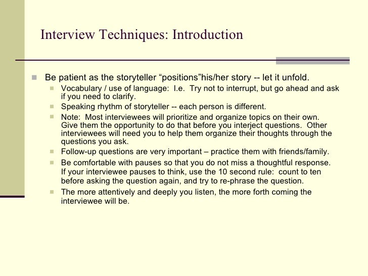 Oral history interview techniques, free lesbian sex keez