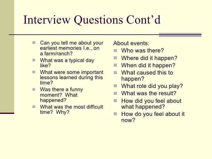 "oral history interview essay Learning to do historical research: sources the oral history ""oral history interview guide""."