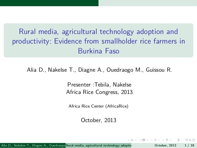 Rural media, agricultural technology adoption and productivity: Evidence from smallholder rice farmers in Burkina Faso Ali...
