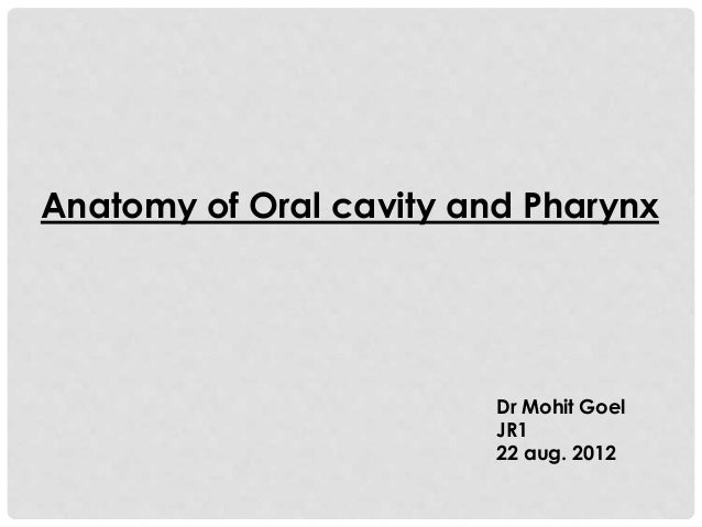 Anatomy of Oral cavity and Pharynx Dr Mohit Goel JR1 22 aug. 2012
