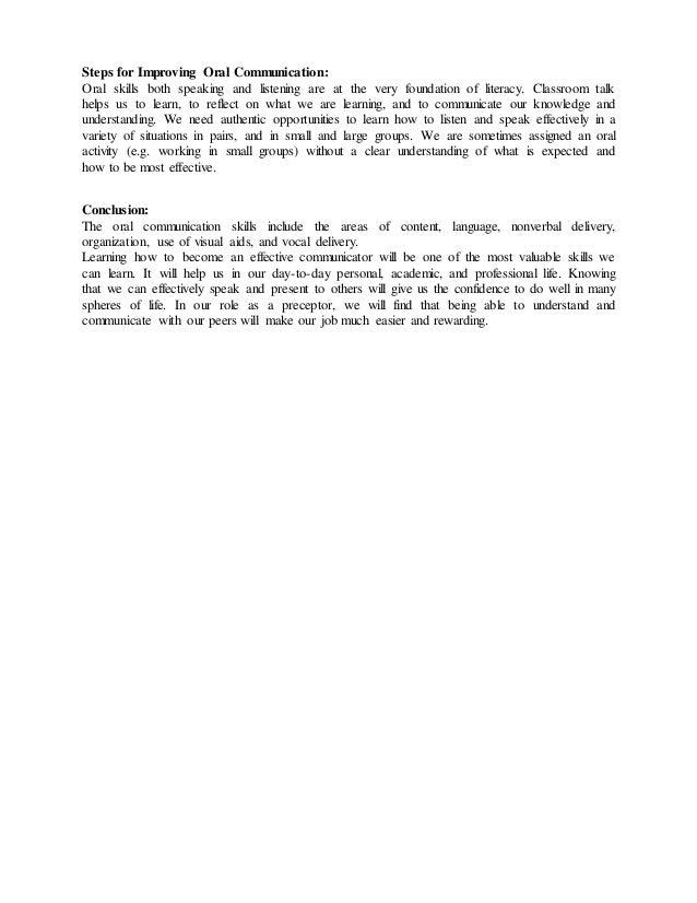 oral communication 2 steps for improving oral communication