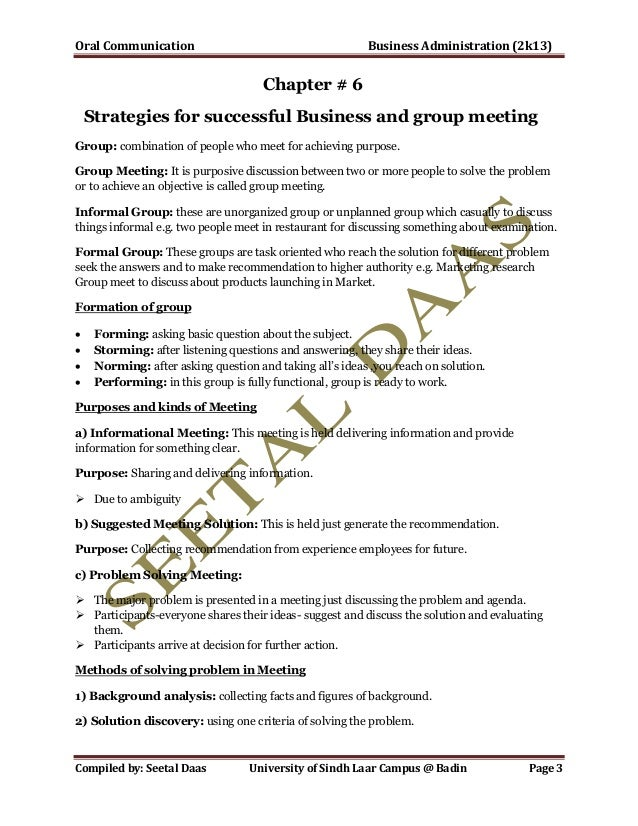 Oral Communication Notes for Commerce and Business Department