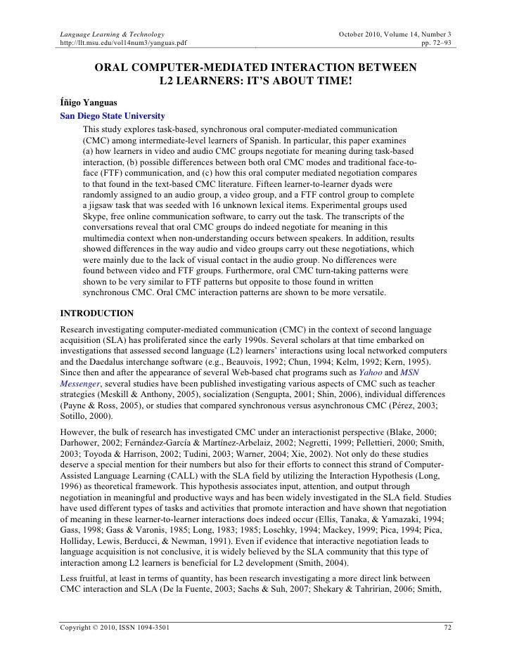 Language Learning & Technology                                             October 2010, Volume 14, Number 3http://llt.msu...