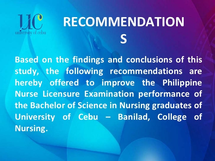 RECOMMENDATIONS Based on the findings and conclusions of this study, the following recommendations are hereby offered to i...