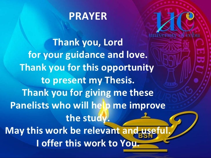 prayer for thesis oral defense