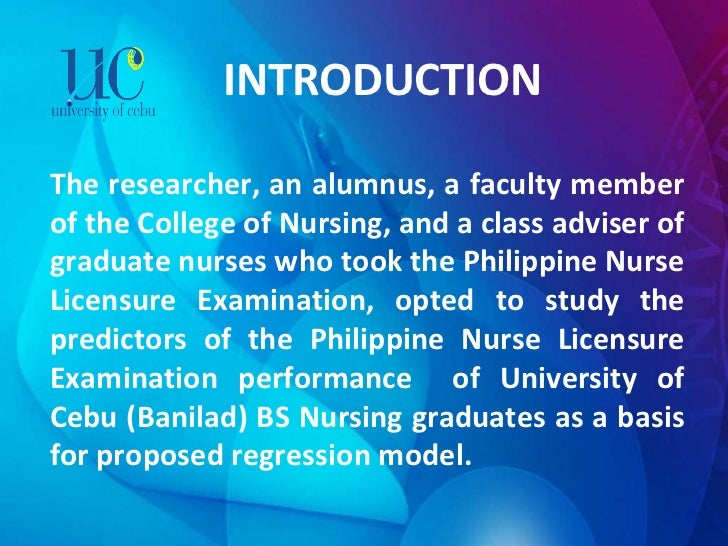 INTRODUCTION The researcher, an alumnus, a faculty member of the College of Nursing, and a class adviser of graduate nurse...