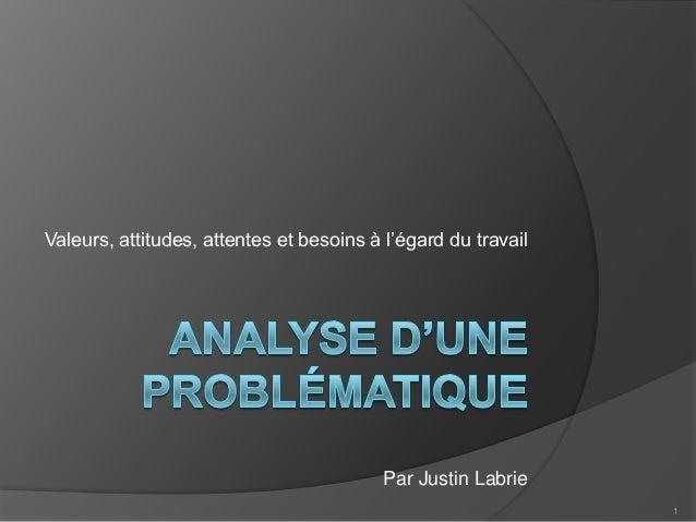 Valeurs, attitudes, attentes et besoins à l'égard du travail  Par Justin Labrie 1