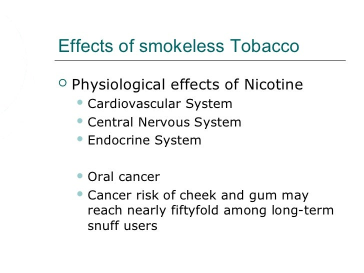 effects of smokeless tobacco on oral