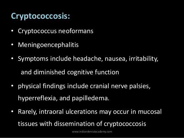 Cryptococcosis diagnosis symptoms