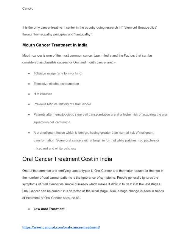 Oral mouth cancer treatment in india