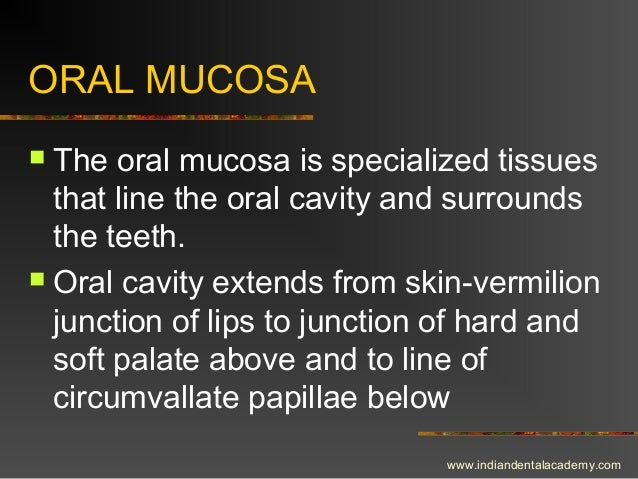 ORAL MUCOSA  The oral mucosa is specialized tissues that line the oral cavity and surrounds the teeth.  Oral cavity exte...