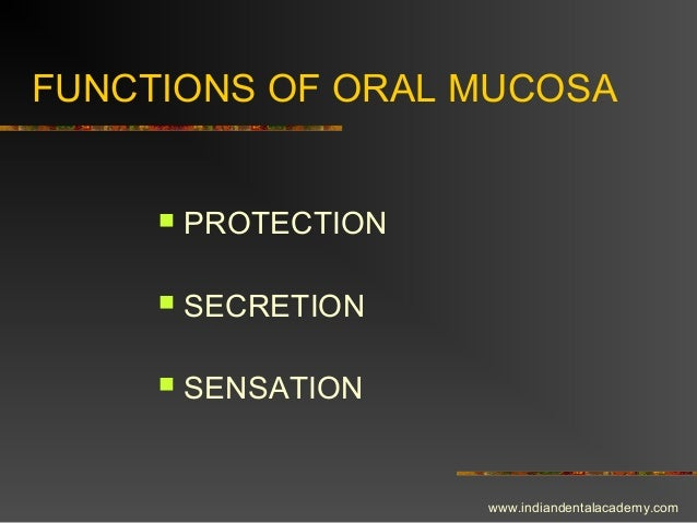 FUNCTIONS OF ORAL MUCOSA  PROTECTION  SECRETION  SENSATION www.indiandentalacademy.com