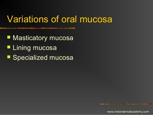 Variations of oral mucosa  Masticatory mucosa  Lining mucosa  Specialized mucosa www.indiandentalacademy.com