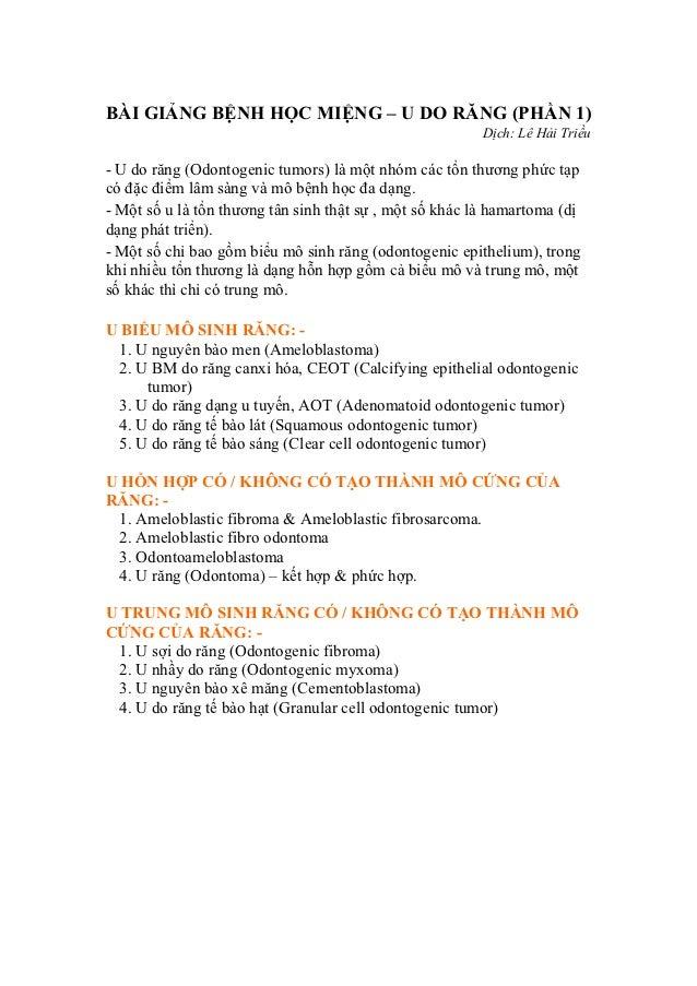 BÀI GIẢNG BỆNH HỌC MIỆNG – U DO RĂNG (PHẦN 1)                                                         Dịch: Lê Hải Triều- ...