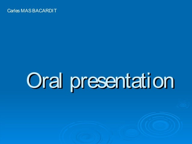 Oral presentationOral presentation CarlesMASBACARDIT