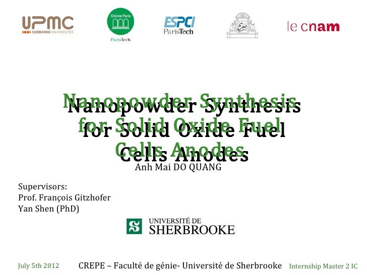 Nanopowder Synthesis                Nanopowder Synthesis                 for Solid Oxide Fuel                  for Solid O...