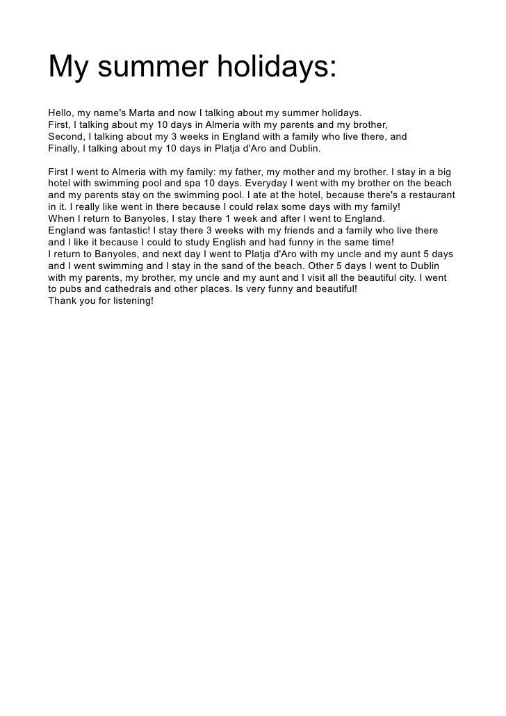 my last summer holiday essay