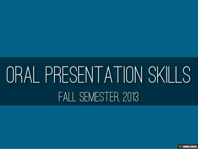 Oral Presentation Skills Syllabus
