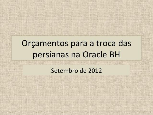 Orçamentos para a troca das  persianas na Oracle BH       Setembro de 2012
