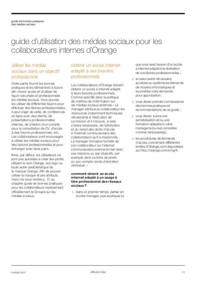 orange charte utilisation medias sociaux