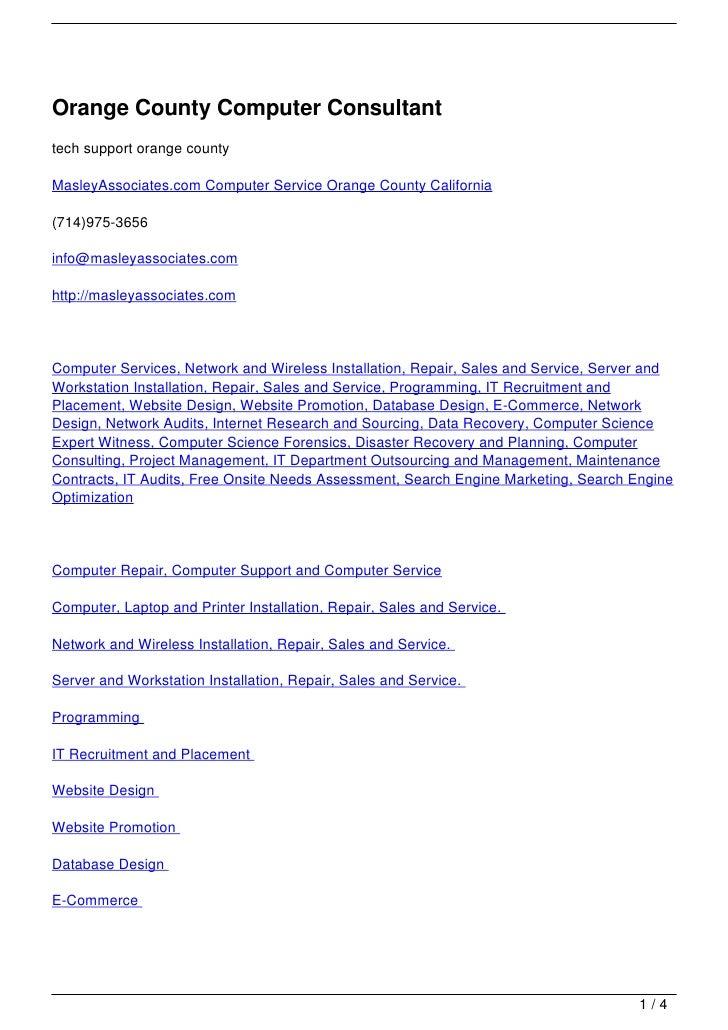 Orange County Computer Consultanttech support orange countyMasleyAssociates.com Computer Service Orange County California(...