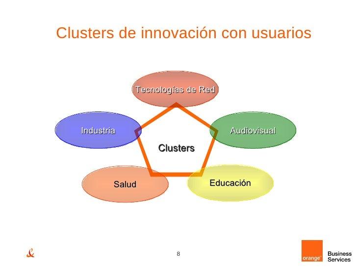 Clusters de innovación con usuarios Clusters Industria Audiovisual Tecnologías de Red Salud Educación