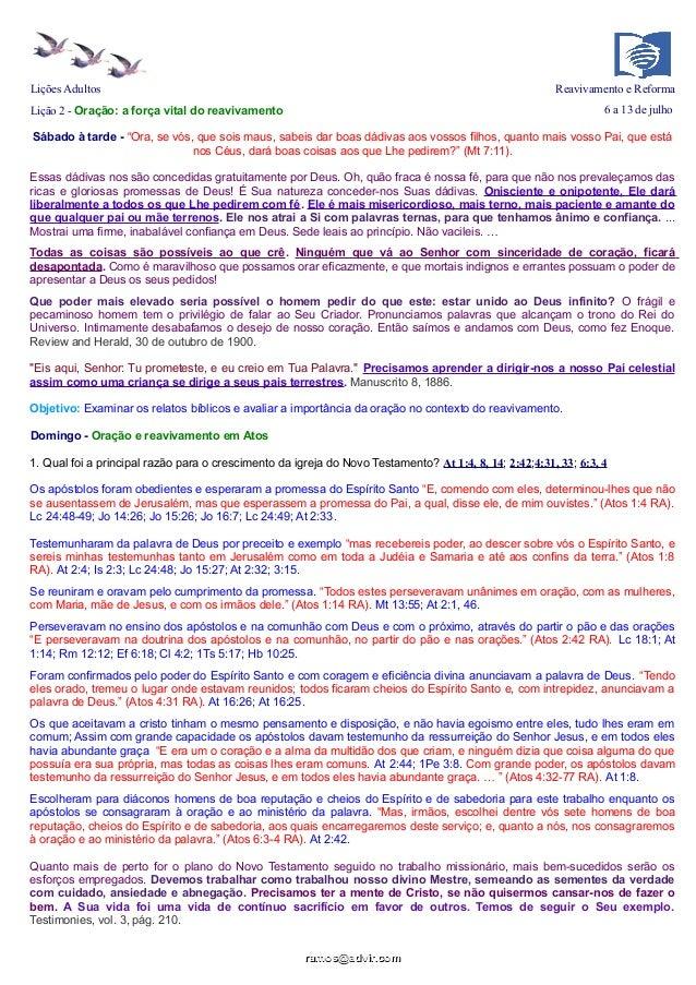 """Lições Adultos Reavivamento e Reforma Lição 2 - Oração: a força vital do reavivamento 6 a 13 de julho Sábado à tarde - """"Or..."""