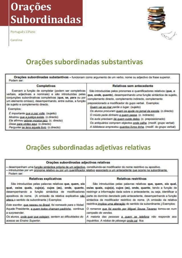 Orações subordinadas substantivas Orações subordinadas adjetivas relativas Orações Subordinadas Português11ºano Carolina