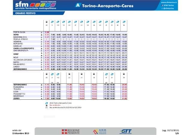 Prezzo del 50% gamma molto ambita di vendita limitata Orario completo SFM Torino al 15/12/2013