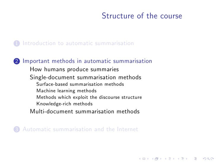 How humans produce summaries