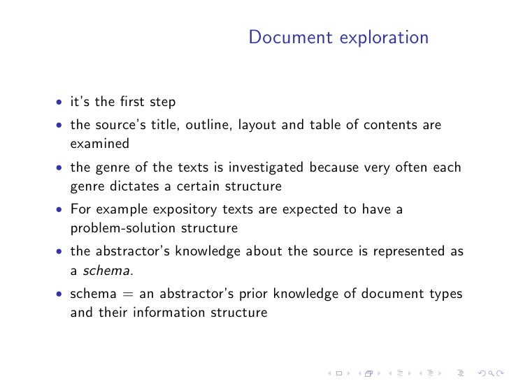 Summary production   • the summary is produced from the expanded structure of the   theme • in order to avoid producing a ...
