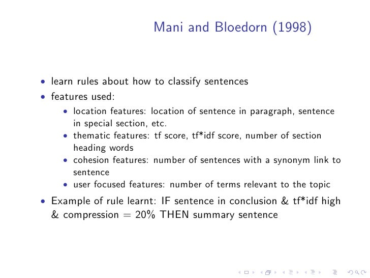 Methods which exploit text cohesion    • text cohesion involves relations between words, word senses,   referring expressi...