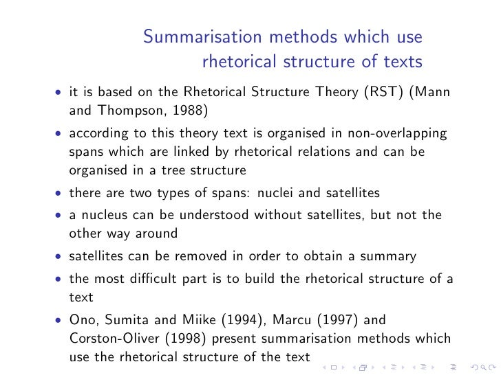 """Knowledge rich methods    • Produce abstracts • Most of them try to """"understand"""" (at least partially a text)   and to make..."""