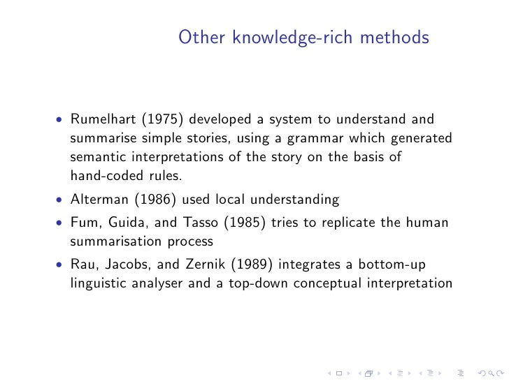 IR inspired methods  • Salton et. al. (1997) can be adapted to multi-document   summarisation • instead of using paragraph...