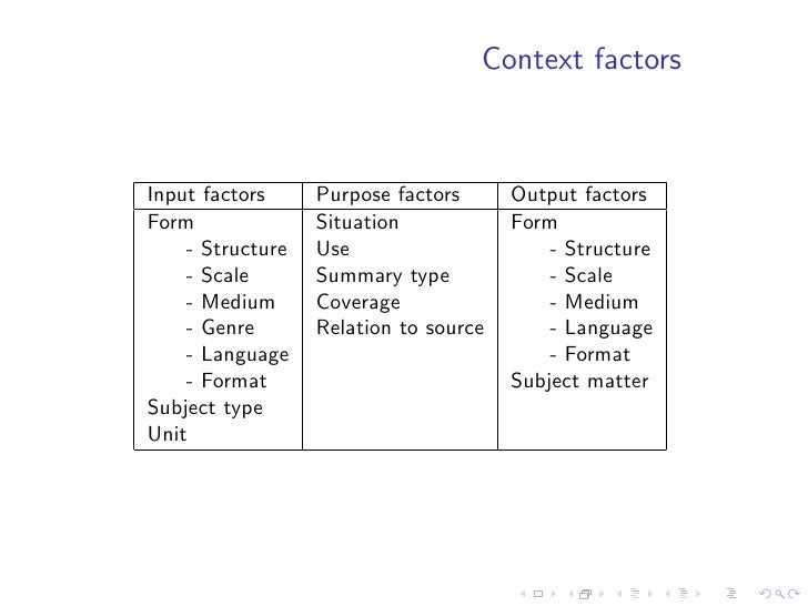 Input factors - Form   • structure: explicit organisation of documents.   Can be problem - solution structure of scientific...