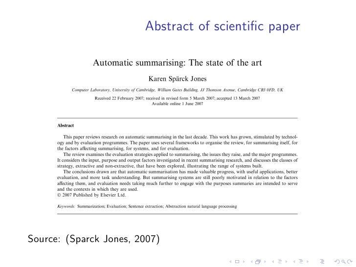 Abstract of scientific paper     Source: (Sparck Jones, 2007)